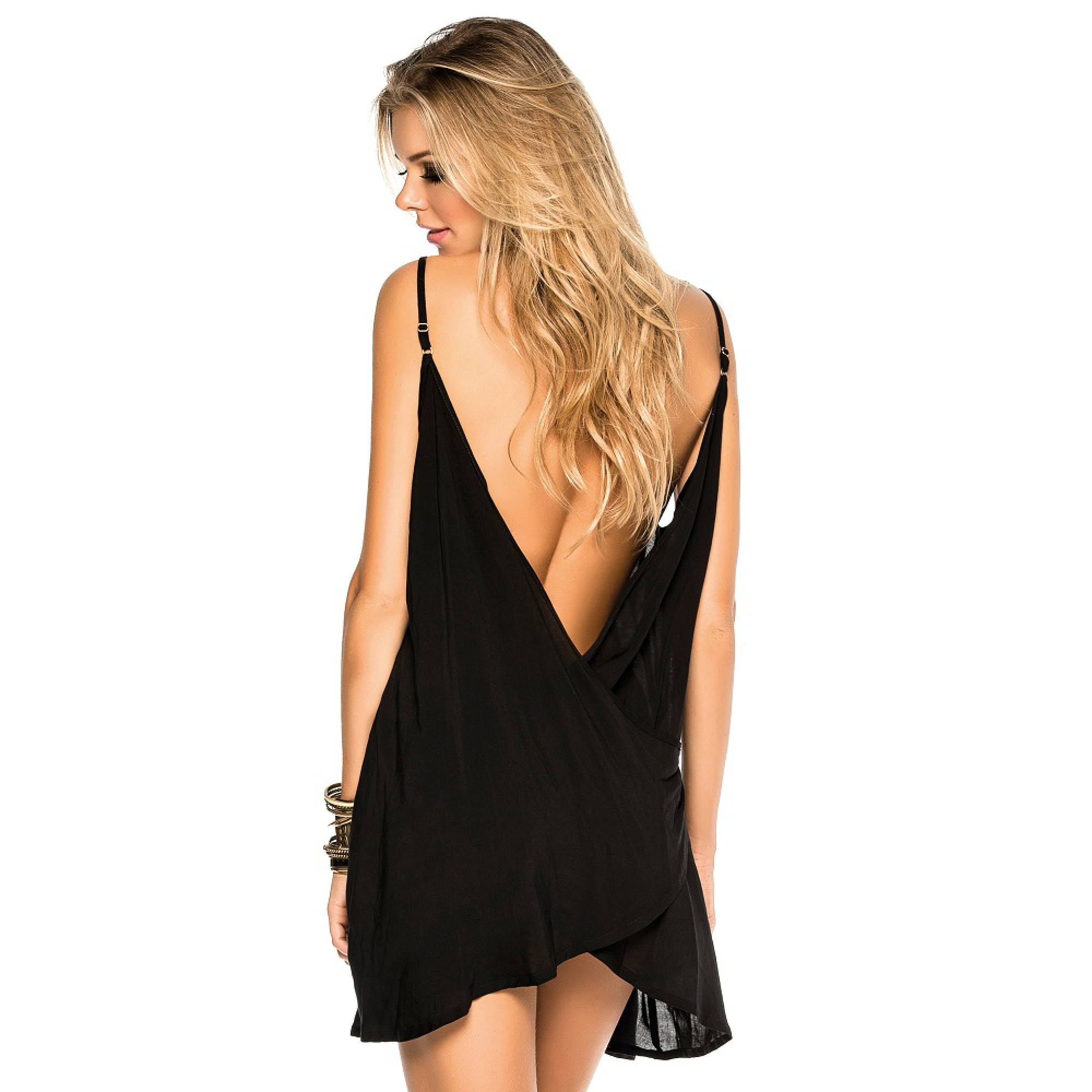 Strandkleid in schwarz mit offenem Rücken